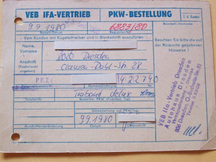 bestellformular für trabant