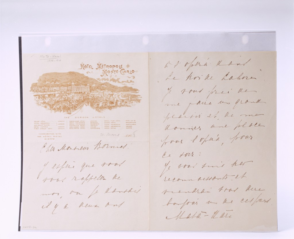 Letter written by Mata Hari France, 1908 International Spy Museum